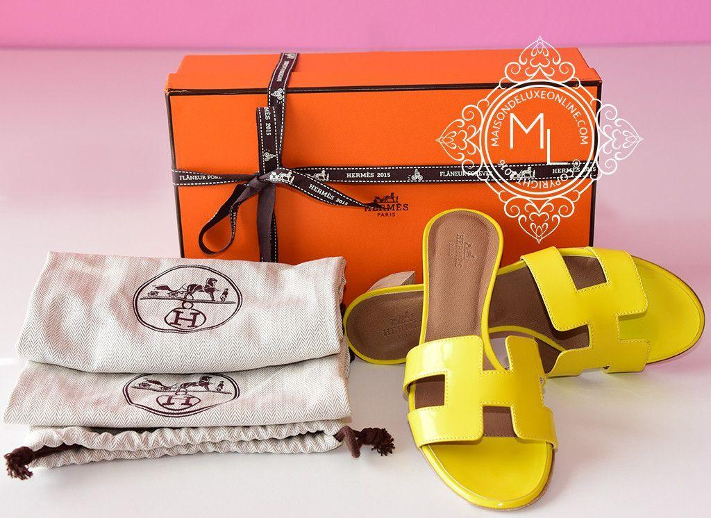 d15f5c3fb7516 Hermes Womens Jaune Citron Yellow Oasis Sandal Slipper 36.5 Shoes - New