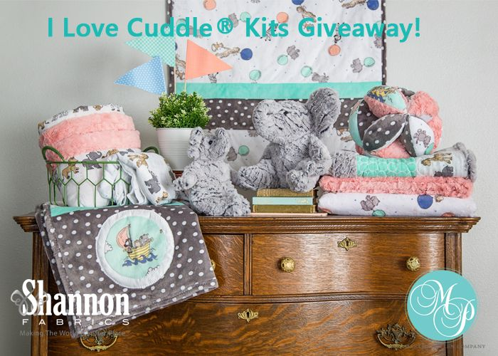 Be sure to enter our I Love Cuddle® Kits Giveaway with @ShannonFabrics by 6/25/17 -- two lucky winners will each receive two Cuddle® kits: a baby quilt kit AND an elephant stuffed animal kit.