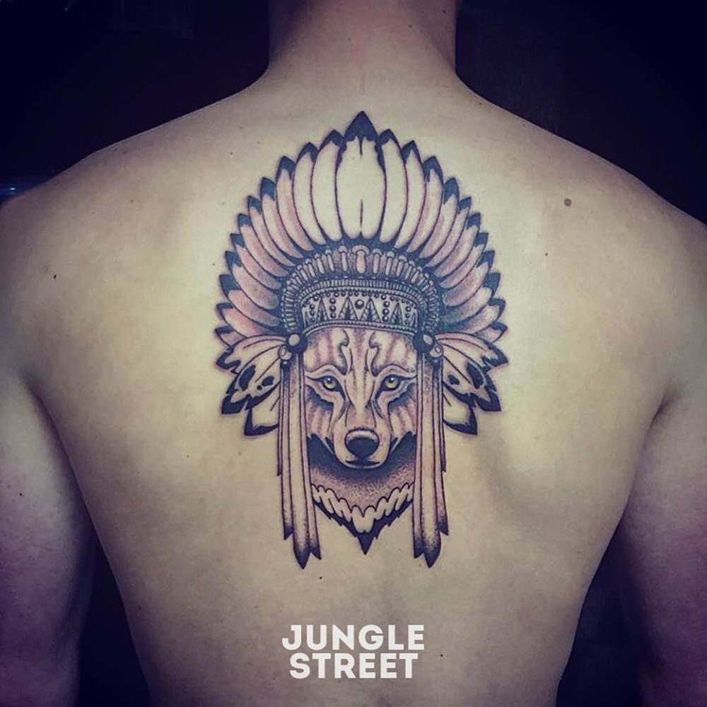 Indian wolf back tattoo #junglestreet | Jungle Street