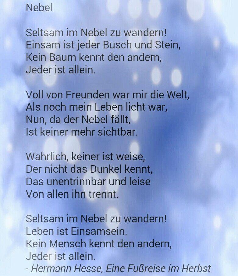Hermann Hesse - Nebel   Gedichte   Pinterest   Gedicht