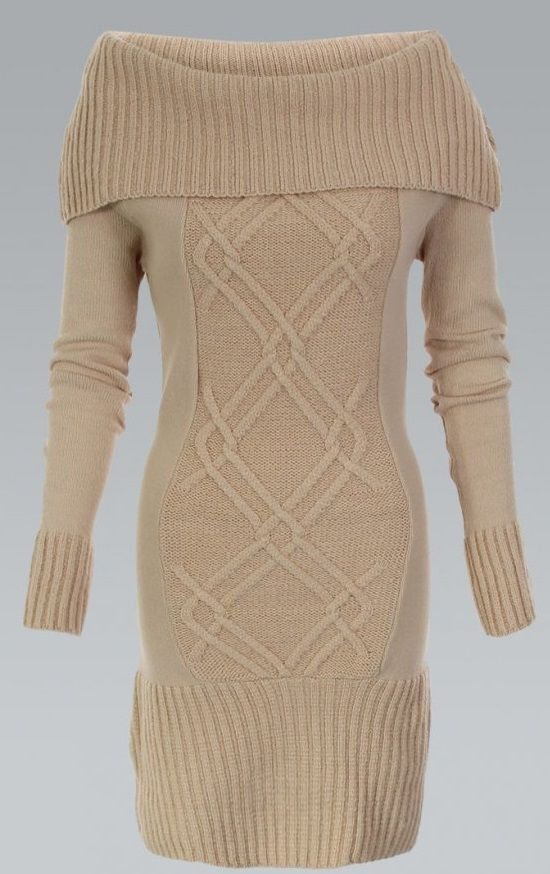 KRISP Cable Knitted Cowl Neck Stone Jumper Dress