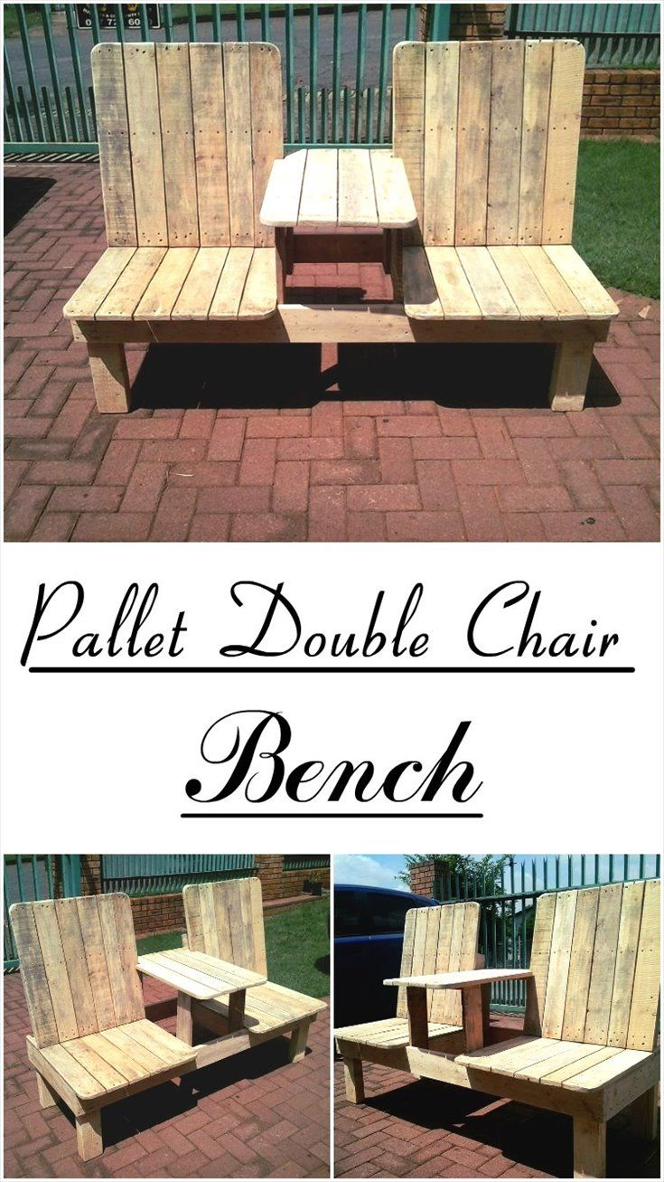 Recycled pallet double chair bench pallets bench and patios for Skid pallet furniture