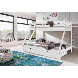 Stor lækker 3 personers Moderno Family køjeseng i robust og massivt bøgetræ, komplet med madrasser