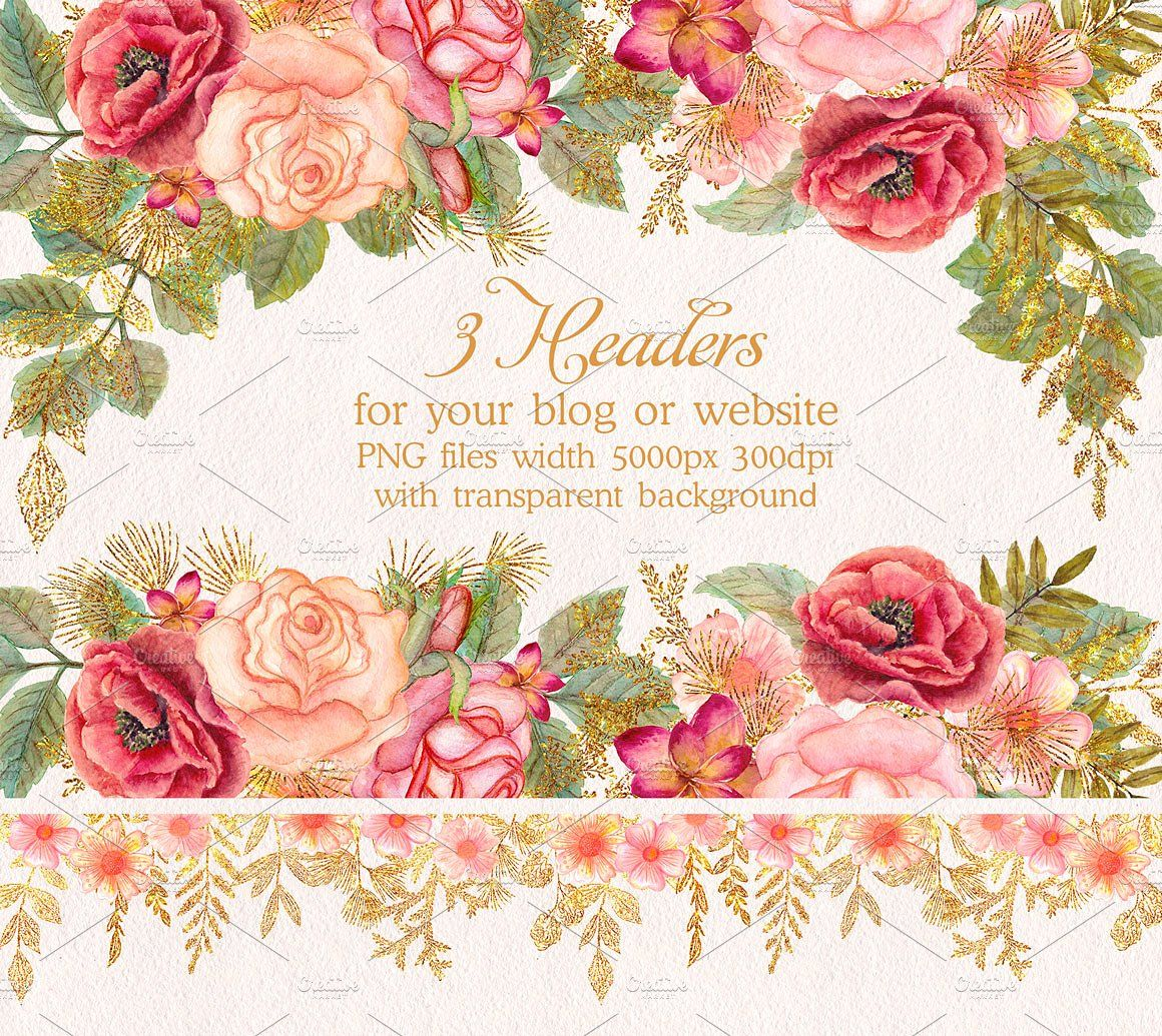 Watercolor Wedding Glitter Flowers Pink Roses Wedding Floral
