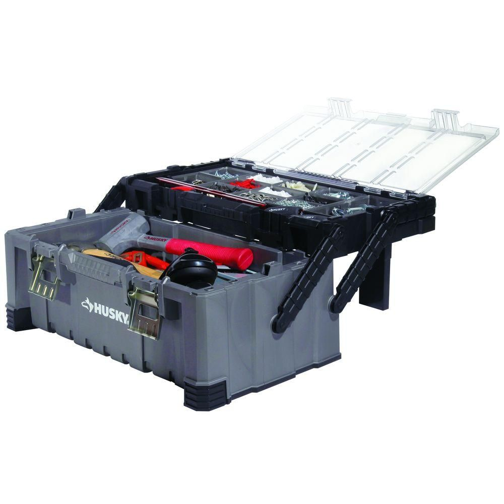 Husky 22 In Cantilever Plastic Tool Box With Metal Latches Black Plastic Tool Box Tool Box Cantilever Tool Box