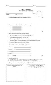 English worksheet: The Lord of the rings worksheet ...