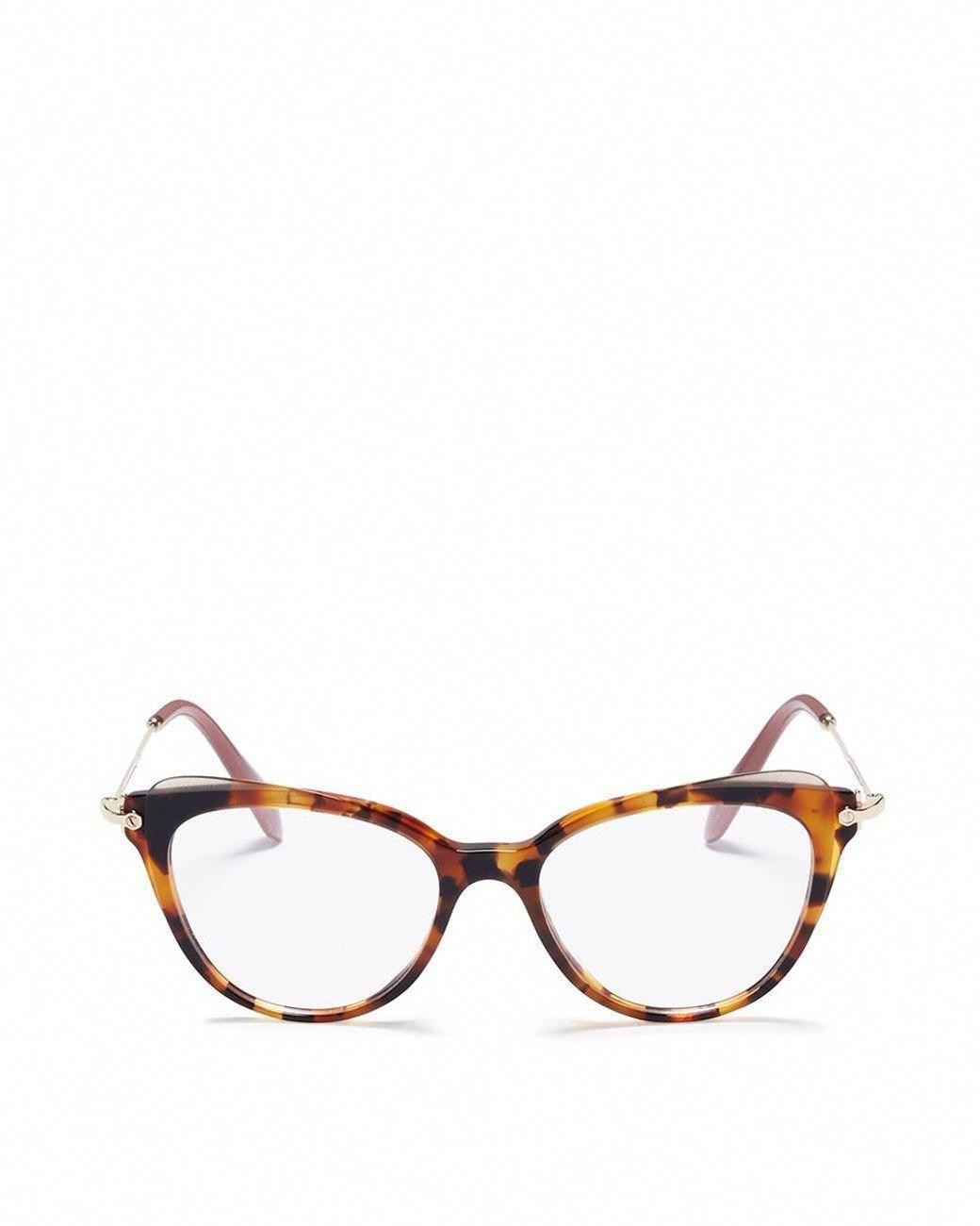 07d71ae94fd2 Miu Miu | Brown Tortoiseshell Acetate Cat Eye Optical Glasses | Lyst ...