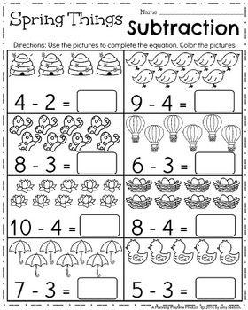 Kindergarten Math And Literacy Printables April Kindergarten Subtraction Worksheets April Kindergarten Worksheets Spring Worksheets Kindergarten Preschool math worksheets free printable