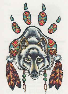 Realistic Temporary Waterproof Tattoo Feather Native American Indian Girls Face 4 33 With Images Dream Catcher Native American Wolf Paw Tattoos Native American Feather Tattoo