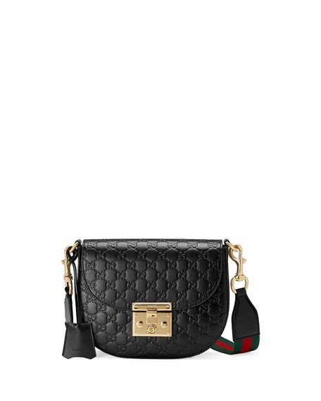 d39387a69d7d GUCCI Padlock Medium Guccissima Curved Crossbody Bag, Black. #gucci #bags #shoulder  bags #crossbody #suede #