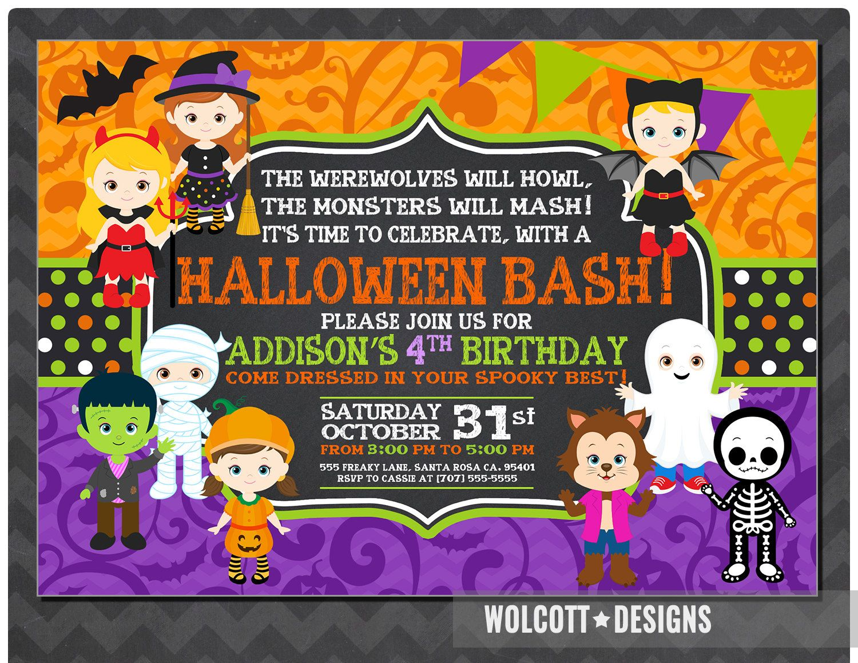 Girls Halloween Party Invitation Kids Costume