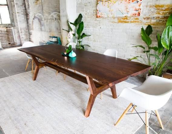 mid century farmhouse table Live edge walnut with the modern looking