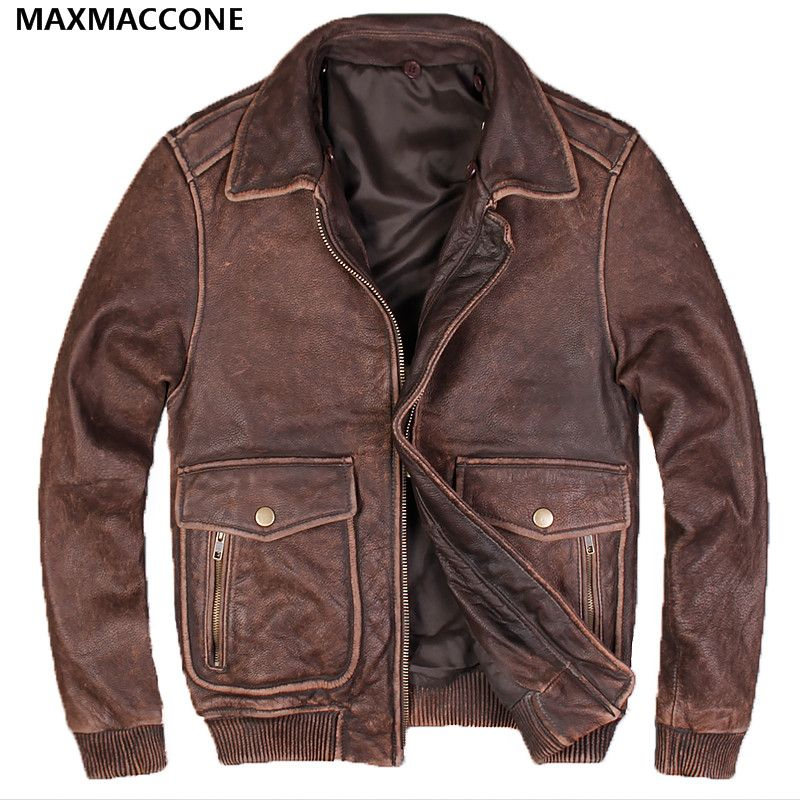 ca85206e5f1 buy 2018 men vintage brown genuine usaf leather pilot jacket wool collar  real thick cowhide plus  leather  flight  jacket