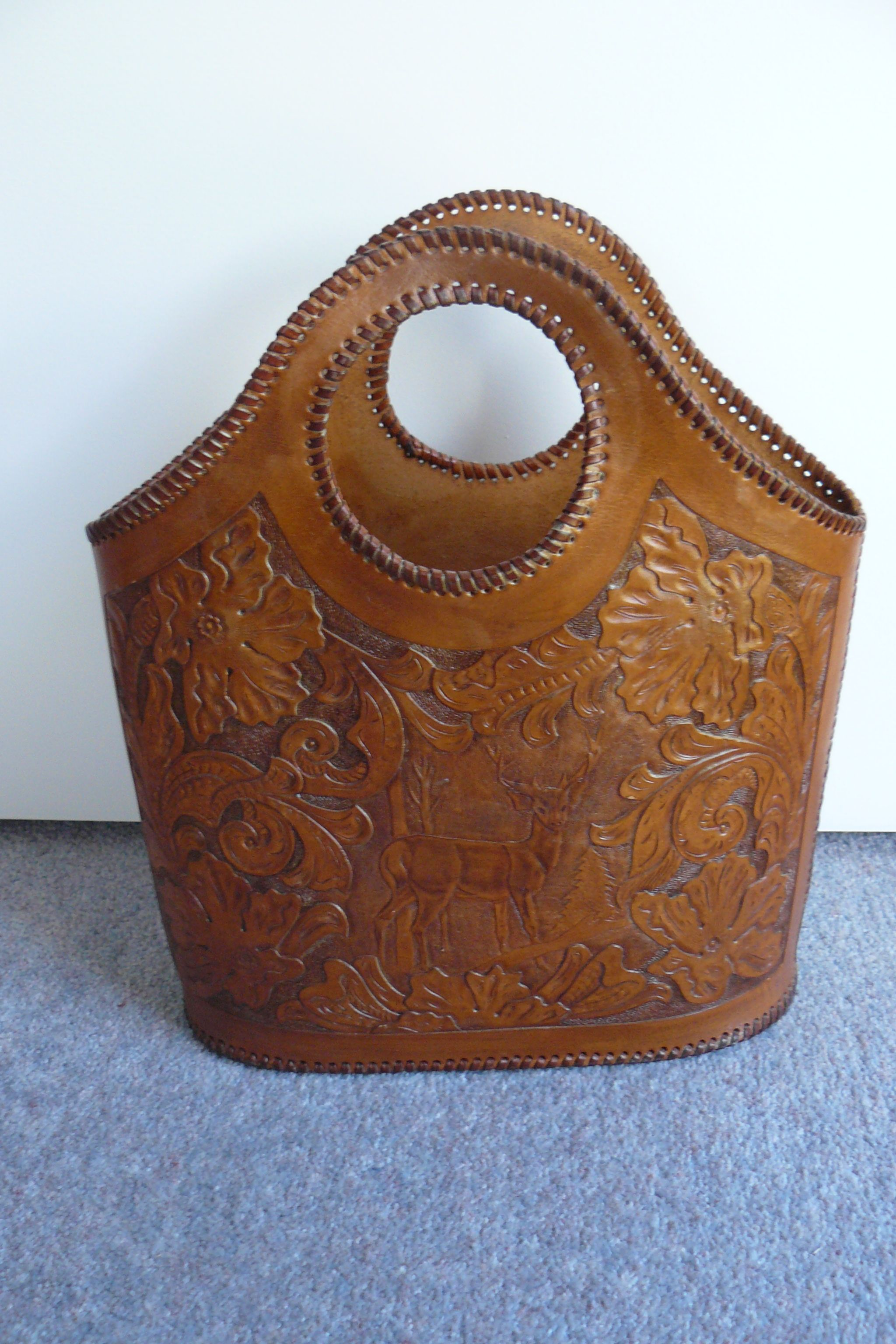 Carved leather tote bag by Grantos