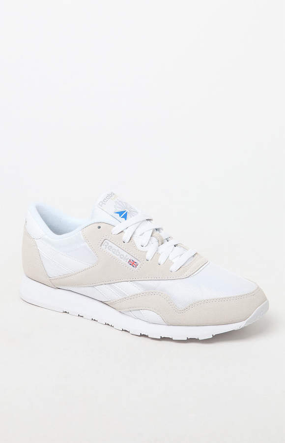 9f7a3e1a22bdd4 Reebok Classic White and Grey Leather   Nylon Shoes