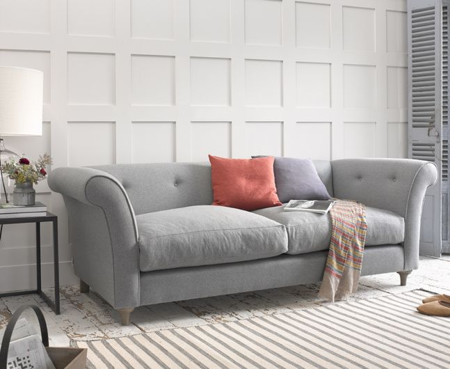 Attractive Modern Chesterfield Style Chester Sofa In Dove Grey Wool