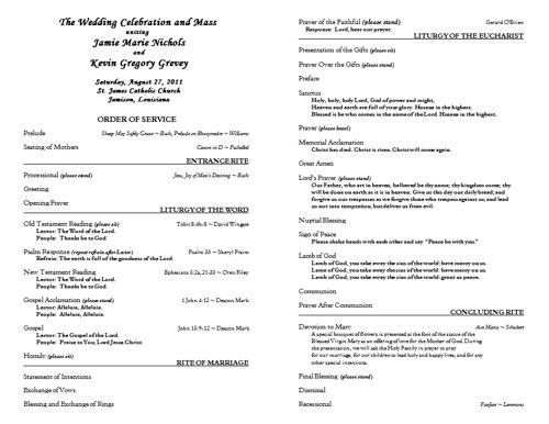 free catholic wedding program template 6 wedding programs