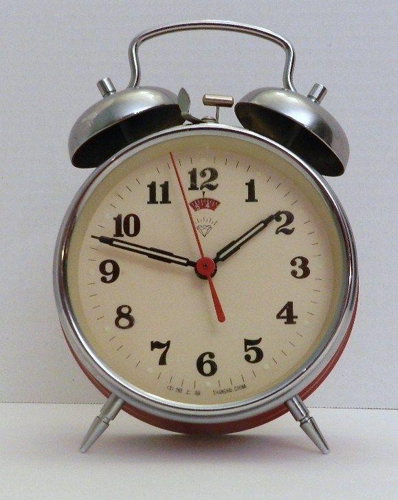 Vintage Red Wind Up Alarm Clock Diamond