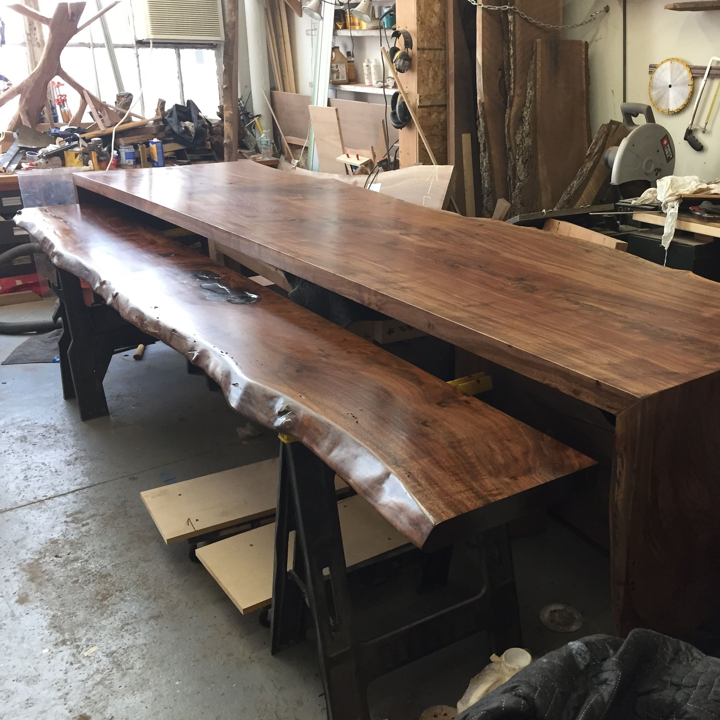 live edge Reception desk in the works Live edge custom built modern furniture and architectural