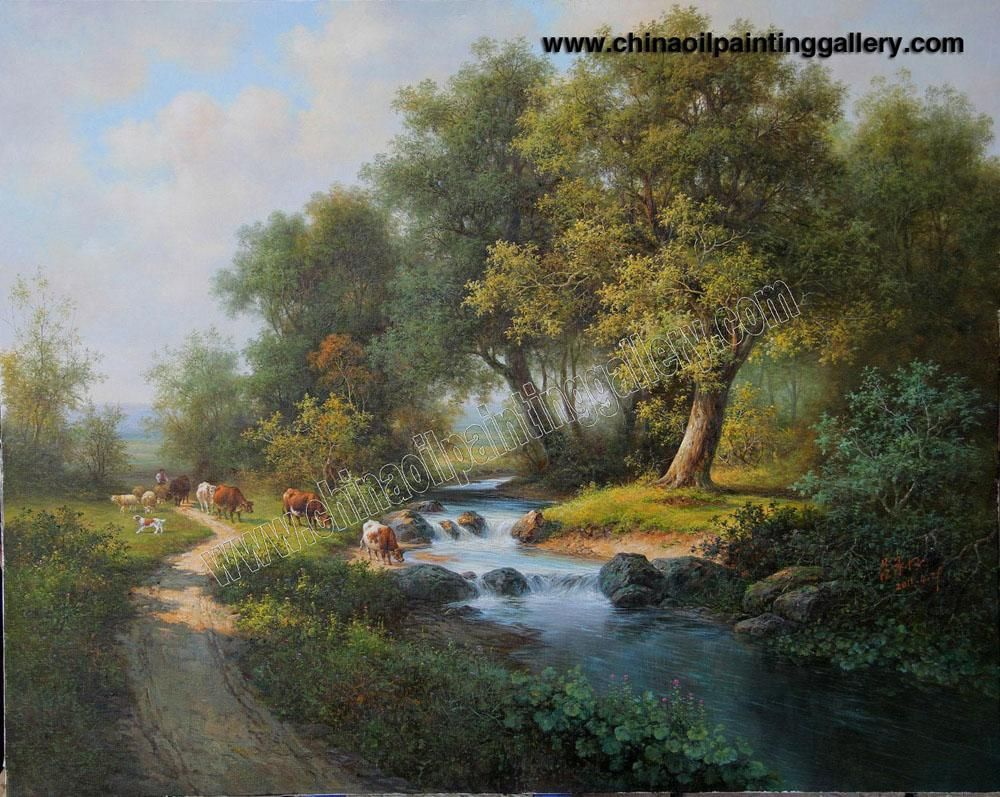 The gallery for oil paintings of landscapes on canvas for Oil painting scenery