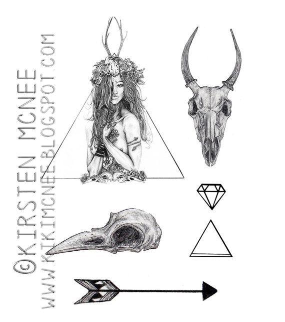 Nature Girl Temporary Tattoos set // animal skulls, girls and triangles