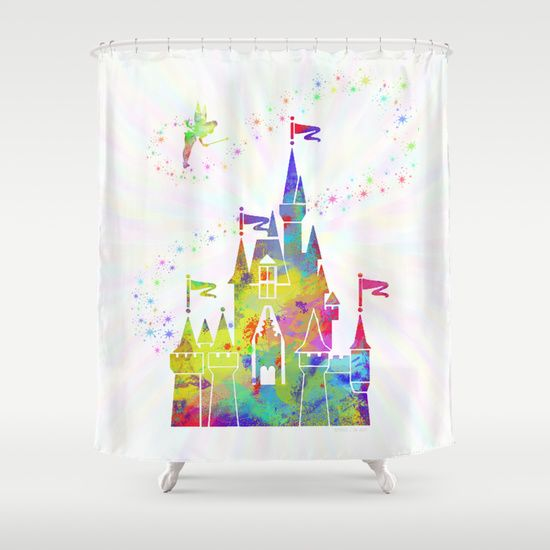 Castle Of Magic Kingdom Tinkerbell Disney Shower Curtain