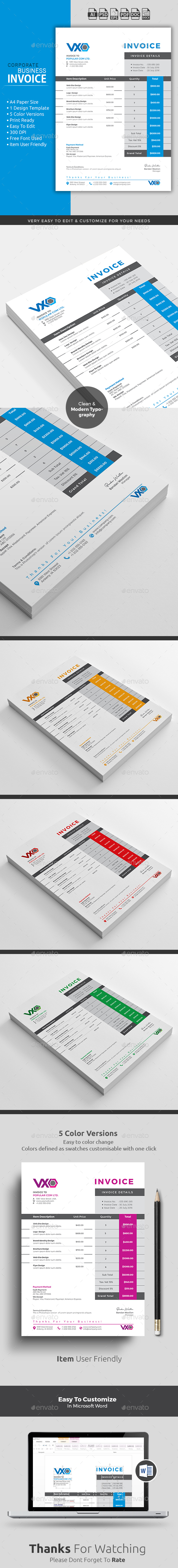 proposal template for word%0A Clean Invoice Word Template    color versions  Quick and easy to customize  templates
