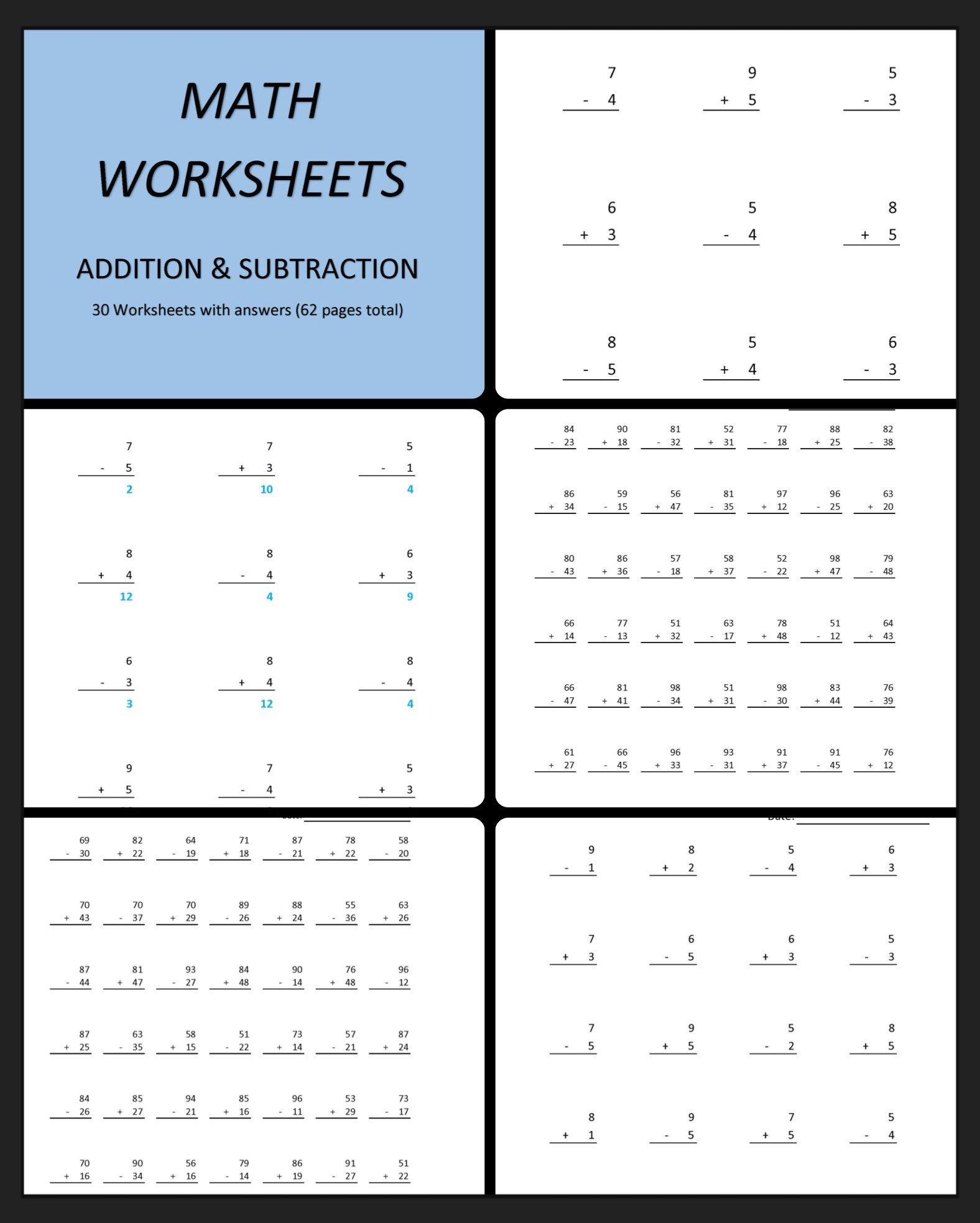 Addition Subtraction 60 Printable Worksheets With Single Etsy Subtraction Worksheets Printable Math Worksheets Math Worksheets