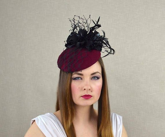 b3a9edc9f996e Burgundy Felt Hat with Leather Flowers and Veil - Cocktail Hat ...