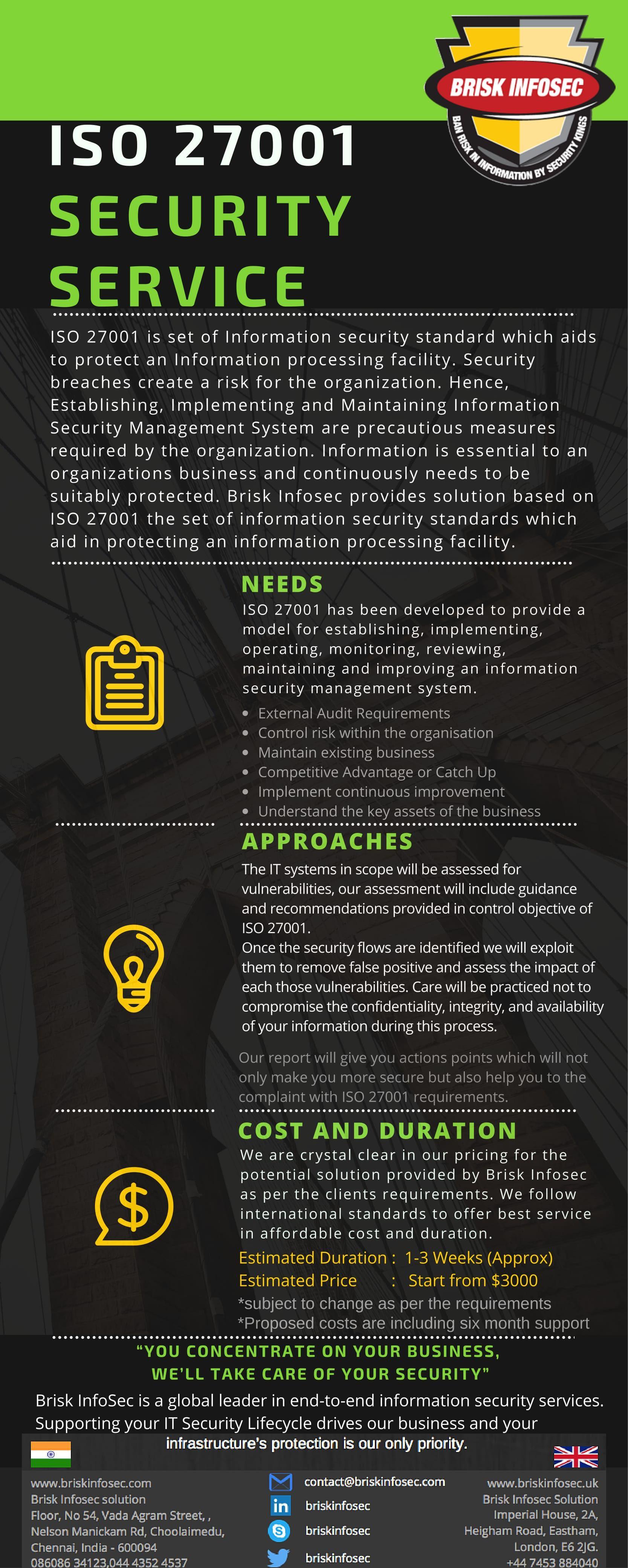 ISO Brisk Infosec Security Services Brochures