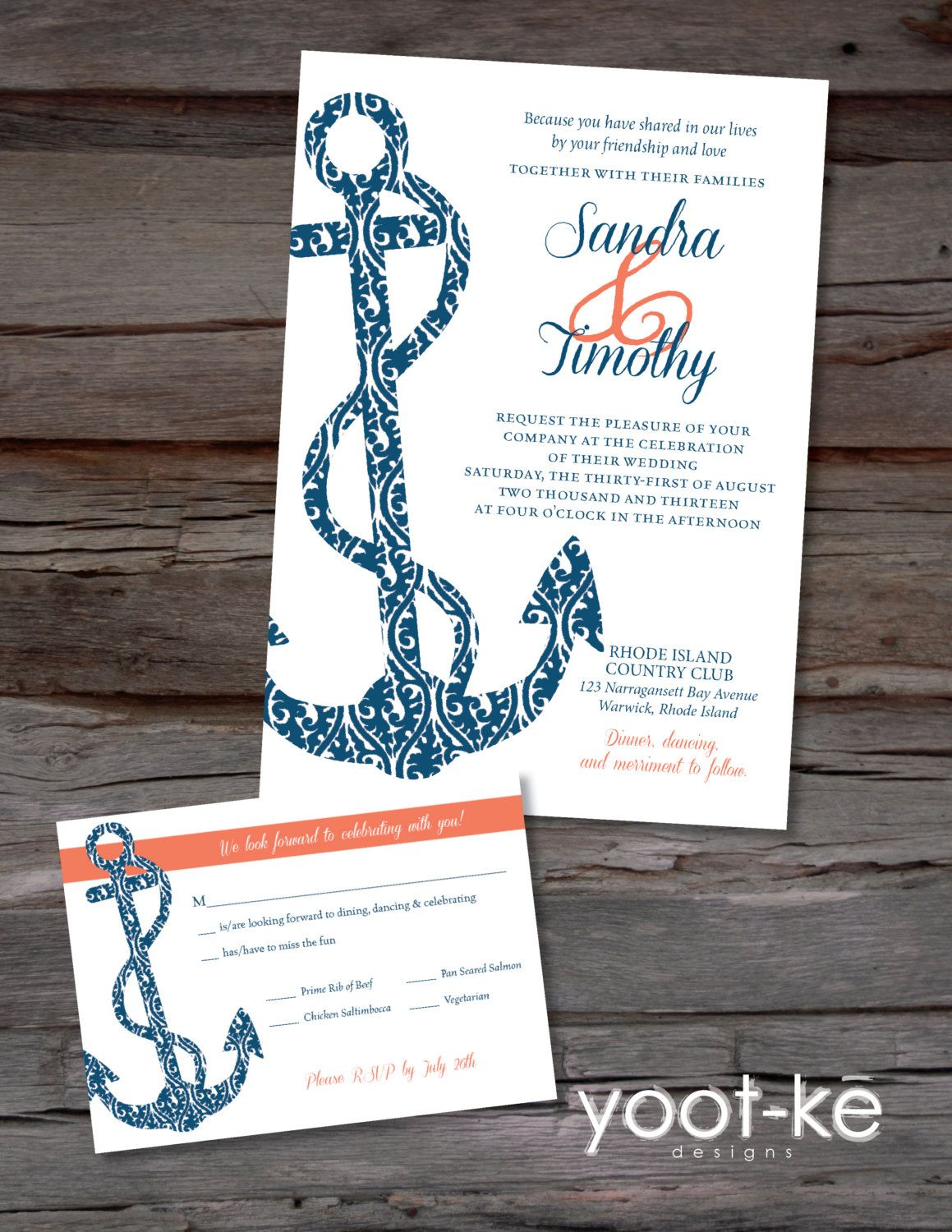 Nautical 5x7 Invitation With Matching Response By Yootkedesigns