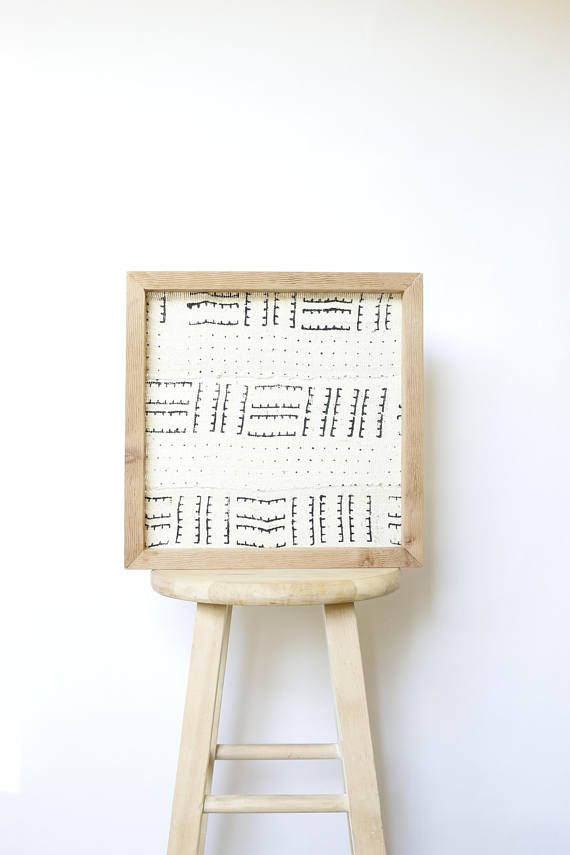 Small Framed African White Mudcloth Wall Art African Art | CACO ...