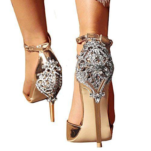 Homebaby Talons Hauts Femmes--Sandales à Talon Haut en Cristal Été Femme  Chaussures Cuir Fête Mariage Sexy High Heels Sandales Mariage de Talon Haut  ... 92929c4fa827