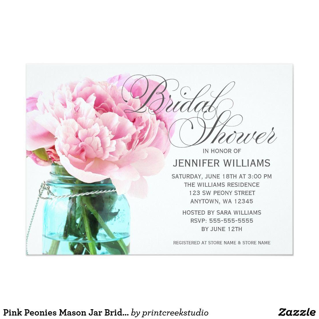 Pink Peonies Mason Jar Bridal Shower Card Elegant Pink Peonies