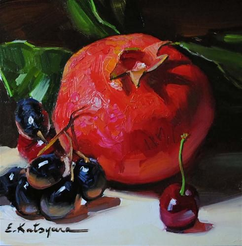 """Pomegranate, Grapes  and  Cherry"" - Original Fine Art for Sale - © Elena Katsyura"