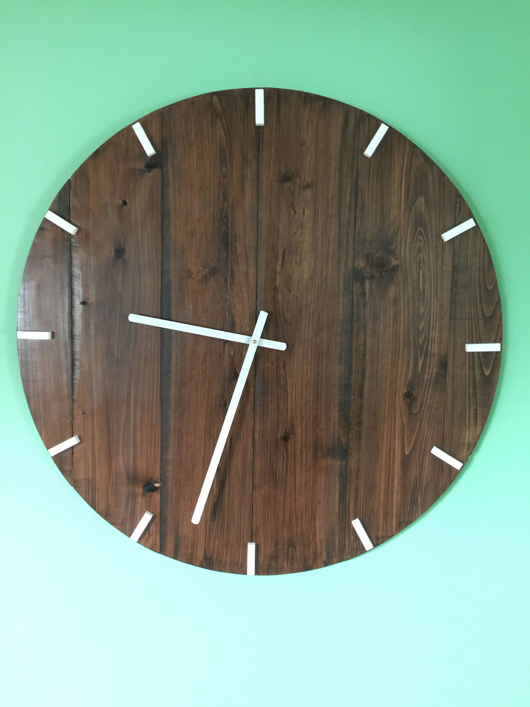 Large Wall Clock Wood Wall Clock Large Wood Clock Vintage Wall