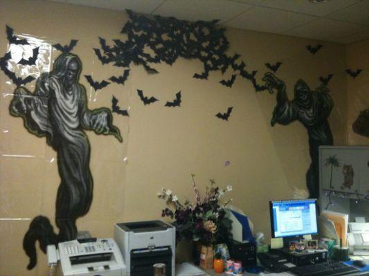 Halloween office decor-bat swarm Halloween cubicle Pinterest