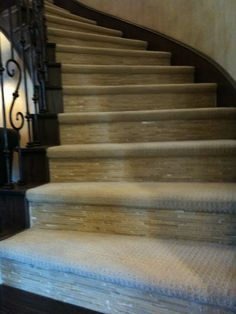 Carpet Tile Combo On Stairs Interesting Consideration Get The Clean Look For Mom But Some Added Safety For The Carpet Stairs Carpet Tiles Model Homes