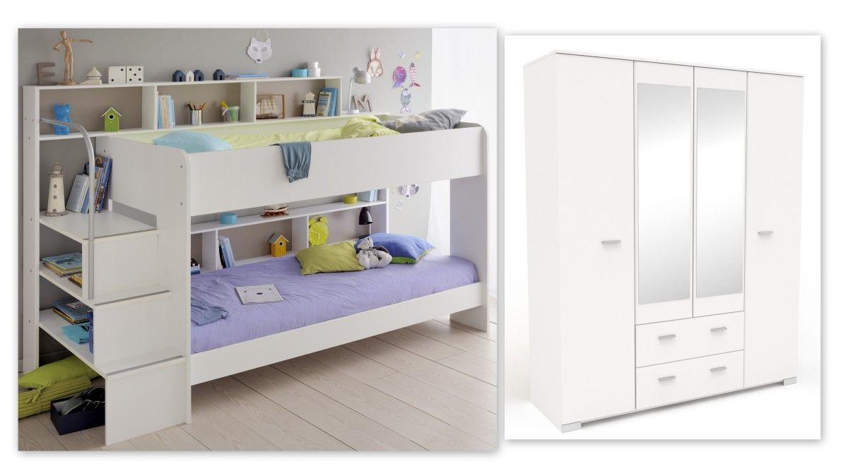 Quelle Etagenbett : Kinderzimmer set 2 tlg inkl 90x200 etagenbett u kleiderschrank 4 trg