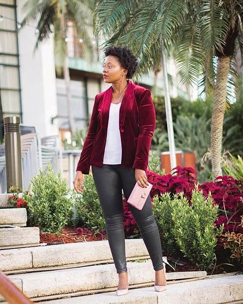 21 stylish outfit ideas for christmas 17 velvet red jacket fashion christmas outfits