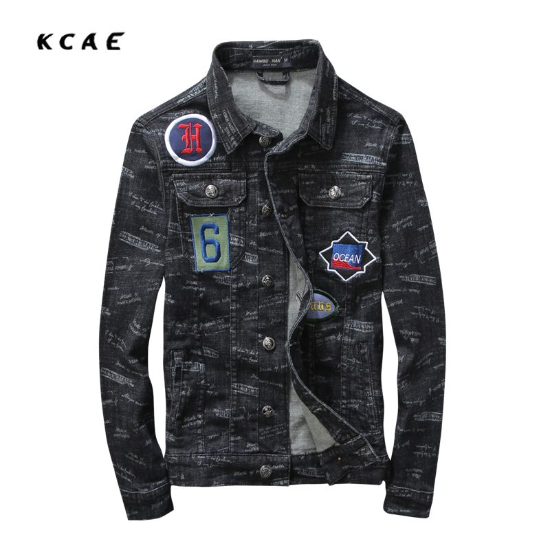 New Arrival Men Jean Jacket With Patches Badge And Black Color Denim Jacket  Men Cotton Slim Fit Mens Jackets And Coats  Affiliate fe4dc493247b