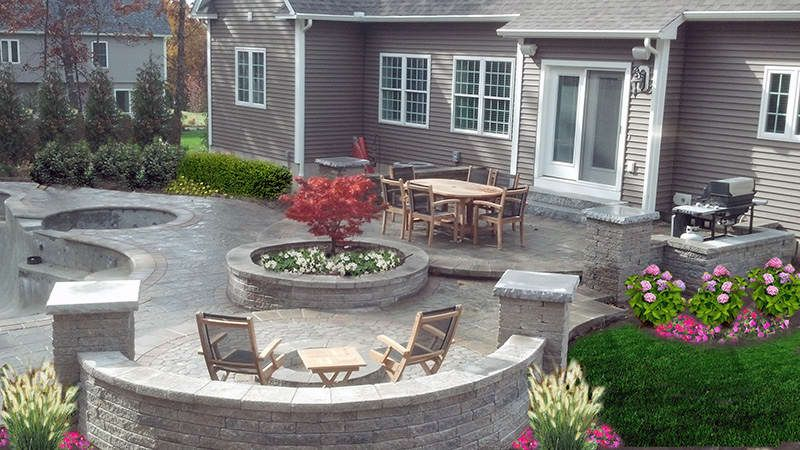exteriors warm patio backyard decor with stone floor and round