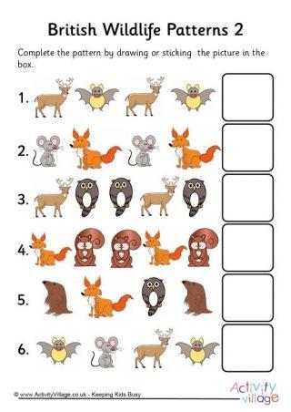 Animal Pattern Worksheets Pattern Worksheet British Wildlife Animal Worksheets Preschool activity sheets uk