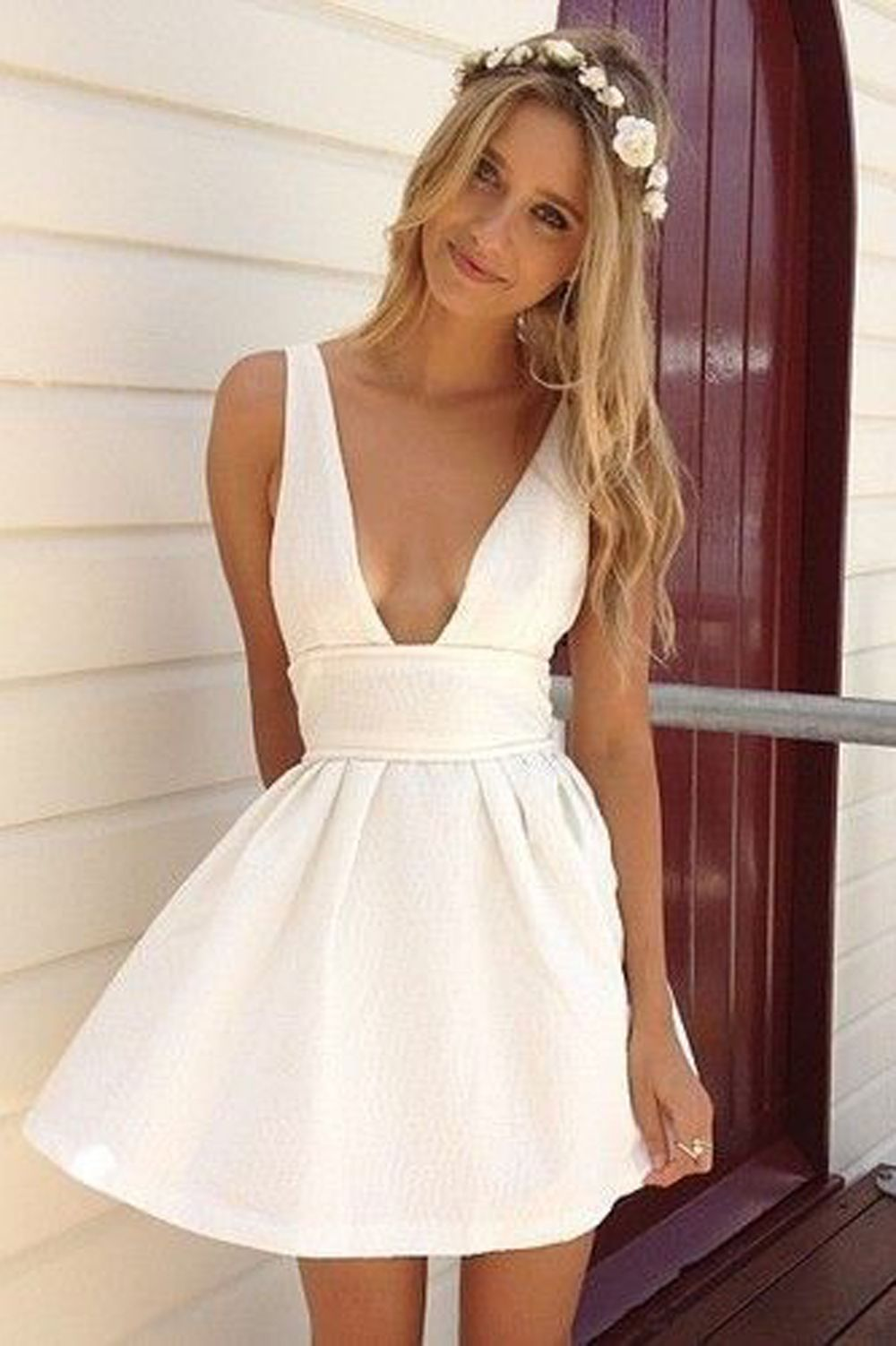 Aline deep vneck white satin homecoming dress in