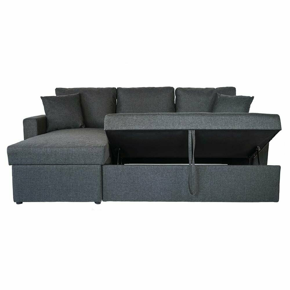 Dark Grey Small L Shape Sectional Sleeper Sofa Pull Out Ottoman Storage Chaise Grey In 2020 Small Sectional Sofa Oversized Sectional Sofa Small Space Sectional Sofa