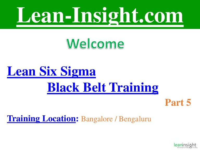 Lean Six Sigma Black Belt Training Part 5 Is About Understanding Our