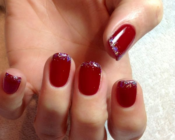gelnagel muster rot glitzer - Gelnagel Muster