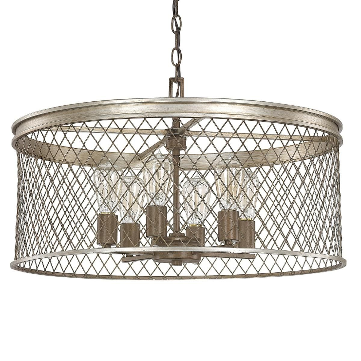 Contemporary Cage Chandelier 6 Light Foyer Pendant Lighting Drum Chandelier Capital Lighting