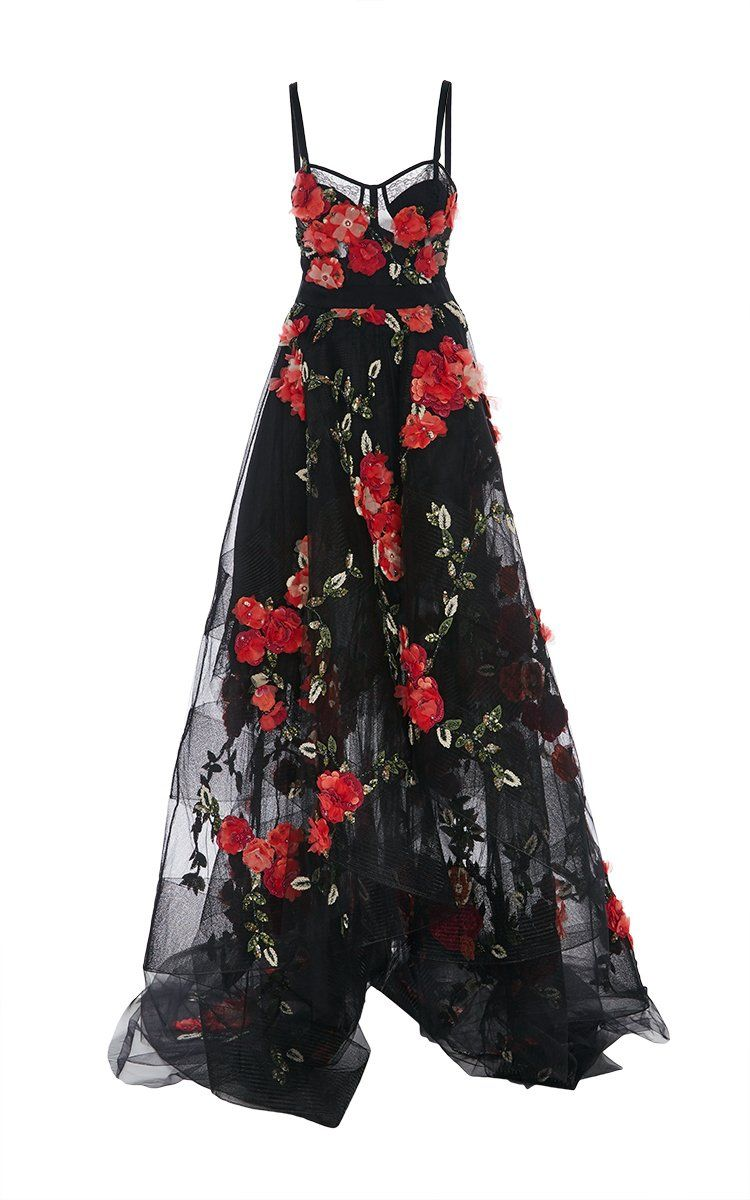 Chic prom dresses black spaghetti straps a line floral sweep train