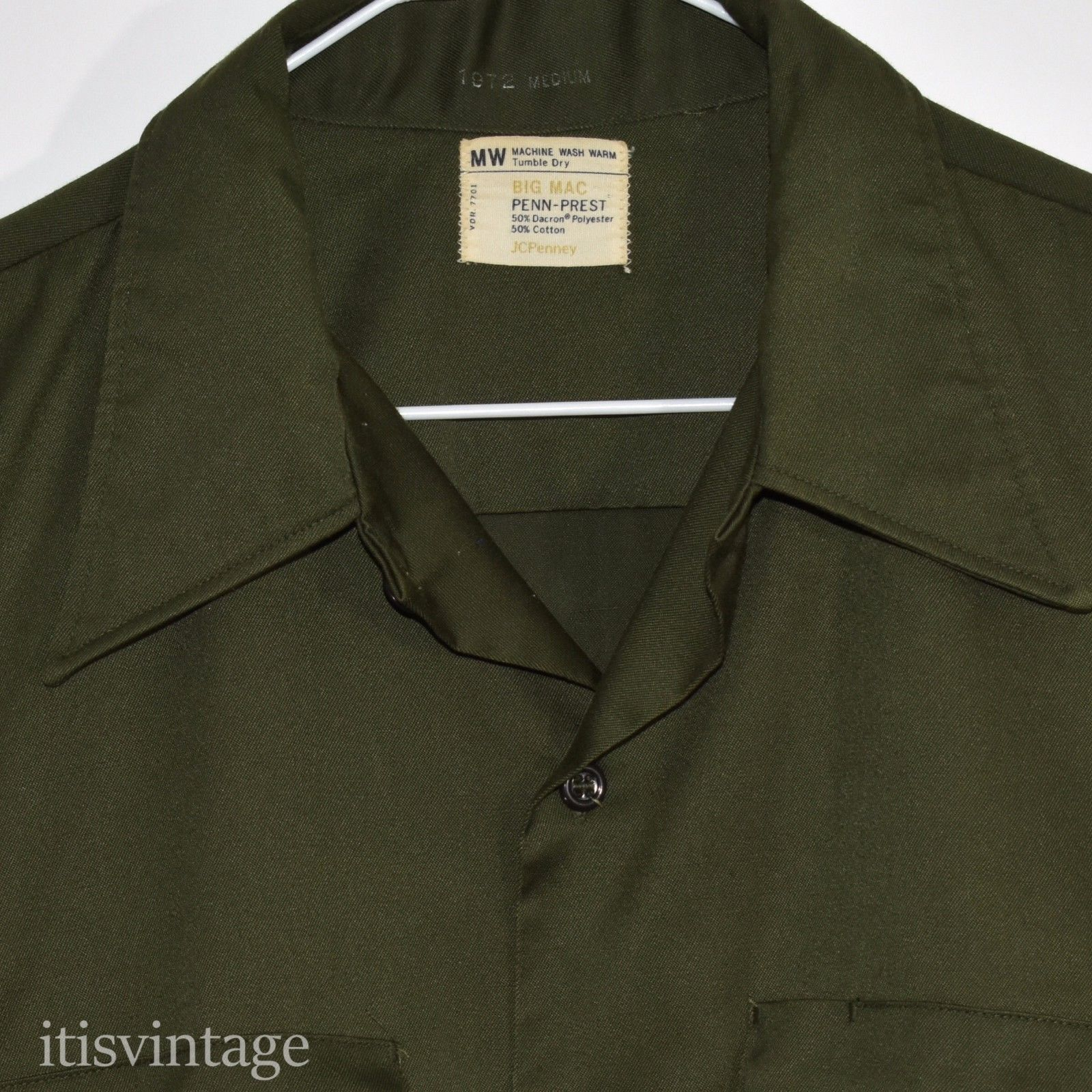 fb03be10d93dc7 Vintage 1972 Big Mac JC Penney Penn-Prest Dark Green Button Front Work Wear  Shirt.